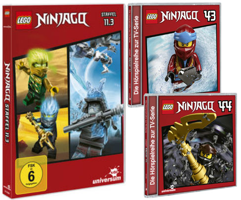 LEGO® NINJAGO® DVD 11.3 und CDs 43 + 44 (Copyright: Universum Kids / LEONINE)