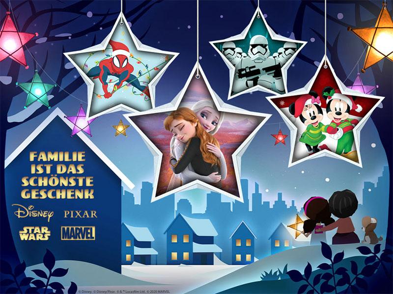 """""""Familie ist das schönste Geschenk"""" Key Visual zum Weihnachtsvideo 2020 von Disney (© 2020 Disney)"""